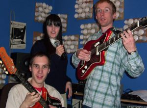 Broadcast striking a pose in their home studio, April 2003