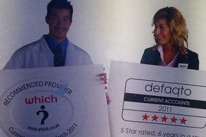 """Jim and Jen in Nationwide bank's critically acclaimed """"Get the current account the experts rate"""" poster."""