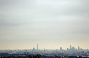 A view of the London skyline from Plum Lane, near Shooters Hill, London