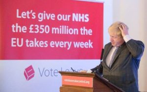 Boris Johnson in front of a sign saying: Let's give our NHS the £350 million the EU takes every week