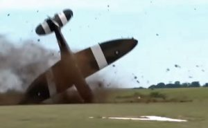 Spitfire plane crashes on take off during airshow in North of France